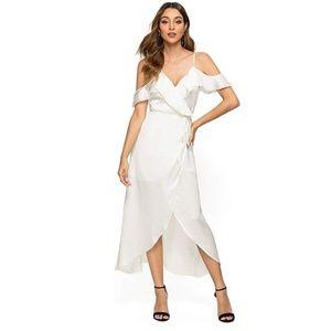 Wrap Maxi Dress Floral Cold Shoulder High Low Spli